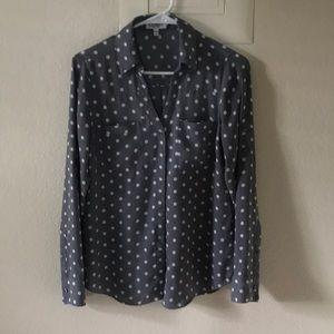 Gray polka dot EXPRESS portofino shirt size small